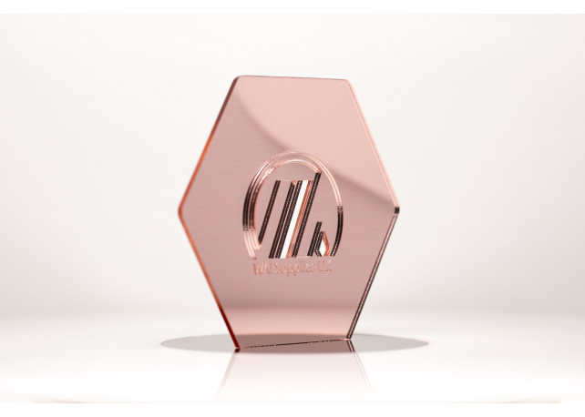 """Rose Gold Mirror Acrylic (1 Side) - 1/8"""" (3mm)"""